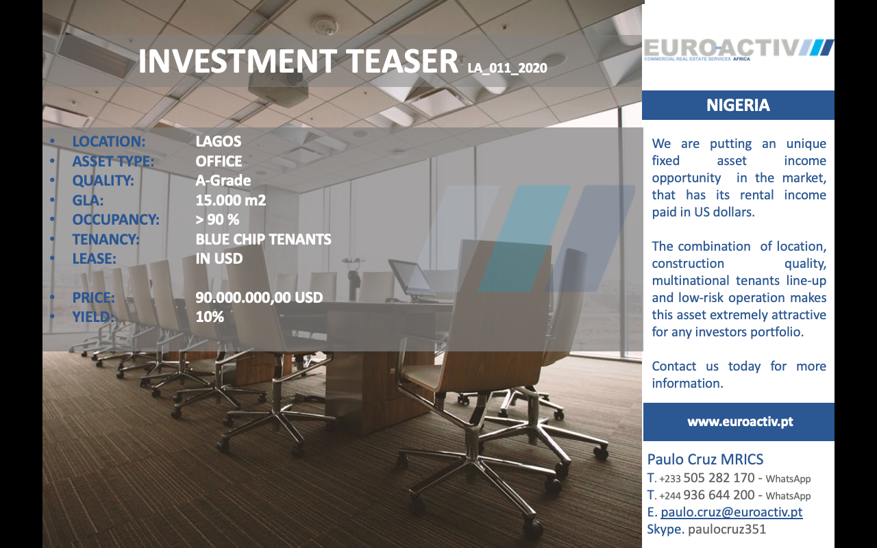 invest capital markets teaser fixed asset income rent usd lagos Nigeria Africa yield